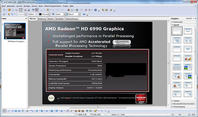 (angebliche) Spezifikationen zur Radeon HD 6990 (Originalbild) - Achtung, Fälschung!