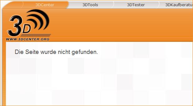 3DCenter: Die Seite wurde nicht gefunden
