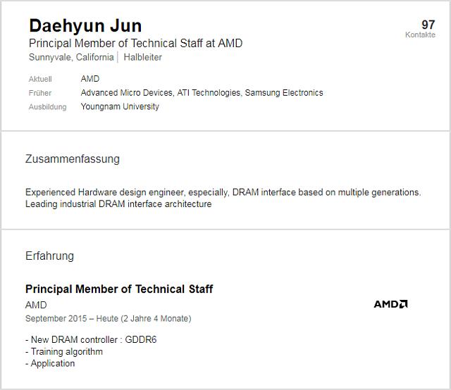 Linkedin-Profil von AMD-Mitarbeiter Daehyun Jun