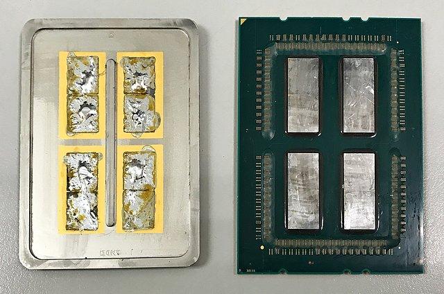 """AMD Ryzen Threadripper """"geköpft"""": Abdeckung (links) & CPU-Package (rechts)"""