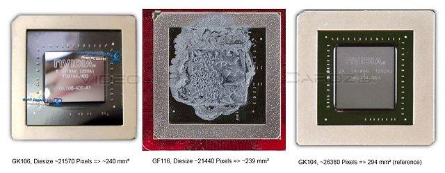 Chip-Flächen-Vergleich nVidia GK106 vs. GF116 vs. GK104