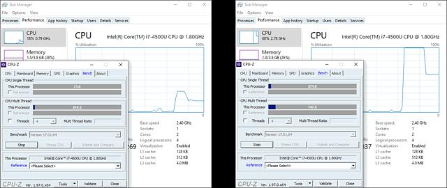 Core i7-4500U mit defekter Batterie: Performance mit/ohne Batterie