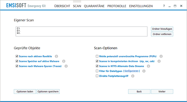 Emsisoft Emergency Kit - Scanoptionen