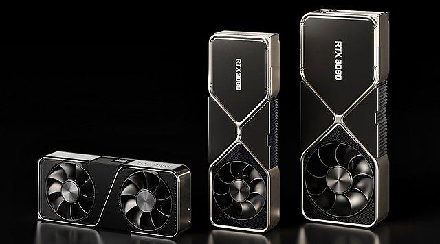GeForce RTX 3090 FE (rechts) - im Vergleich mit GeForce RTX 3070 FE (links) & GeForce RTX 3080 FE (mitte)
