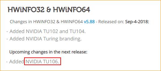 HWinfo 5.88 Release Notes (Auszug)