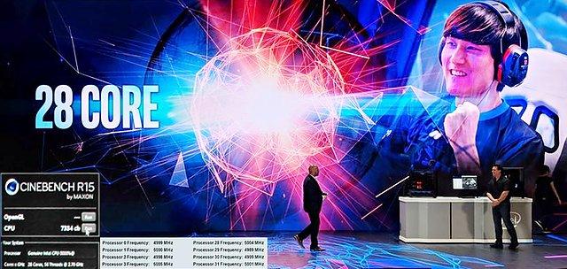 """Intel """"Cascade Lake"""" Demonstration einer 28-Kern-CPU auf der Computex 2018"""