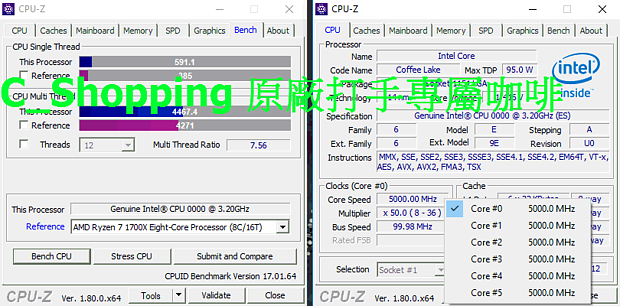 "Intel Coffee Lake 6C ""Engineering Sample"" @ 5.0 GHz"