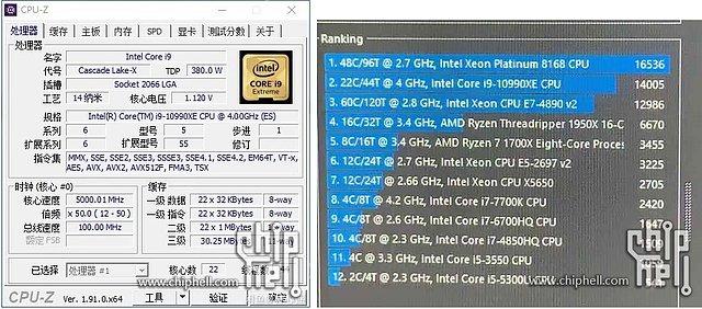 Intel Core i9-10990XE & CPU-Z & Cinebench
