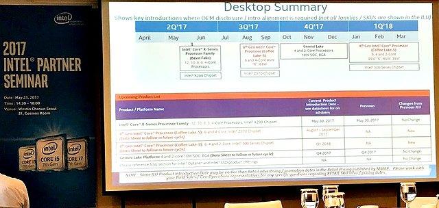 Intel Desktop-Prozessoren Roadmap Q2/2017 bis Q1/2018 @ Intel Partner Seminar