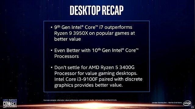 Intel-Präsentation: Core i-9000 vs. AMD Zen 2 (Slide 23)