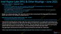 """Intel """"Raptor Lake"""" Leak von MLID vom Juni 2021"""
