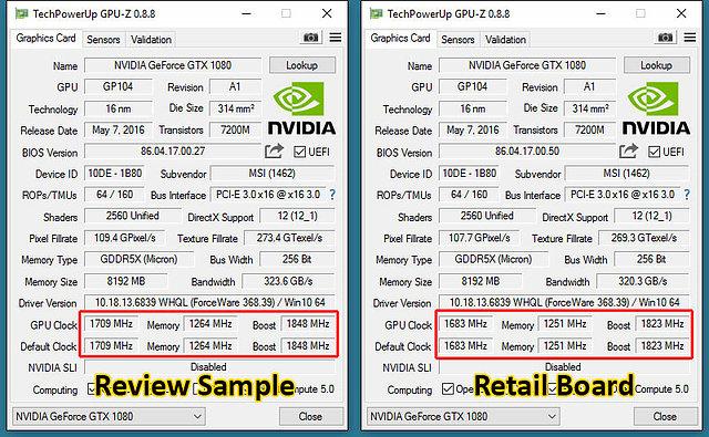 MSI GeForce GTX 1080 Gaming X: Pressesample (links) vs. Retailkarte (rechts)