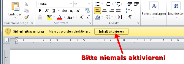 Microsoft Office – Makro-Warnung