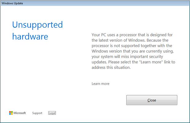 "Windows 7/8.1: Fehlermeldung ""Unsupported Hardware"" nach dem Patchday April 2017"