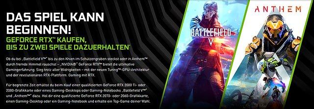 """nVidia """"Anthem & Battlefield V"""" Spielebundle"""