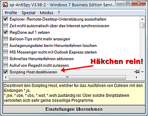 xp-AntiSpy: Windows Scripting Host deaktivieren