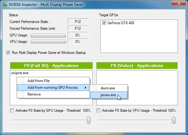 Multi Display Power Saver: Auswahl laufender Prozesse