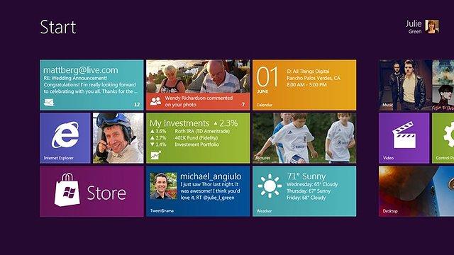 Windows 8 Oberfläche: Startbildschirm