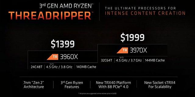 AMD Ryzen Threadripper 3960X & 3970X Spezifikationen