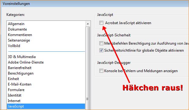 Adobe Acrobat Reader: Javascript deaktivieren