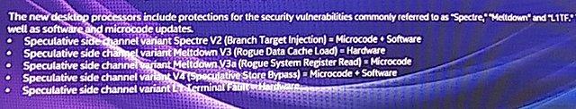 Intel Core i-9000 Serie: Schutz gegenüber Meltdown & Spectre