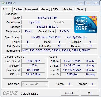 Core i5-750 @ 3.8 GHz CPU-Z