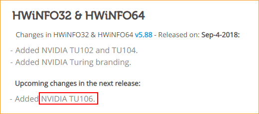 HWinfo 5.88 Release Notes (Auszug)