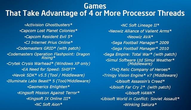 Intel-Liste der Spiele, welche auf 4 oder mehr Threads optimiert sind