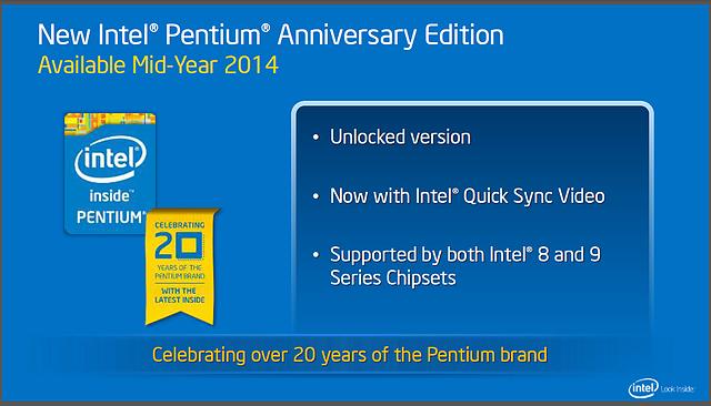 "Intels Desktop-Roadmap für 2014: ""Intel Pentium Aniversary Edition"""