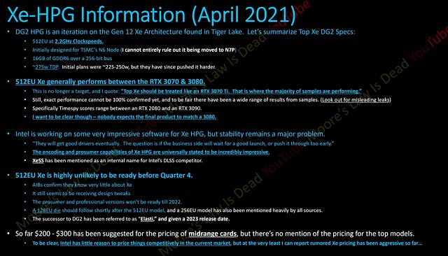 Intel Xe-HPG Leak (by Moore's Law is Dead)
