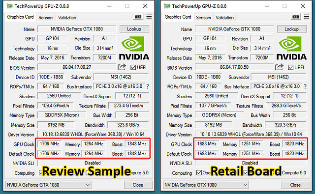 MSI GeForce GTX 1080 Gaming X: Pressesample (links) vs. Retailkarte (rechts)