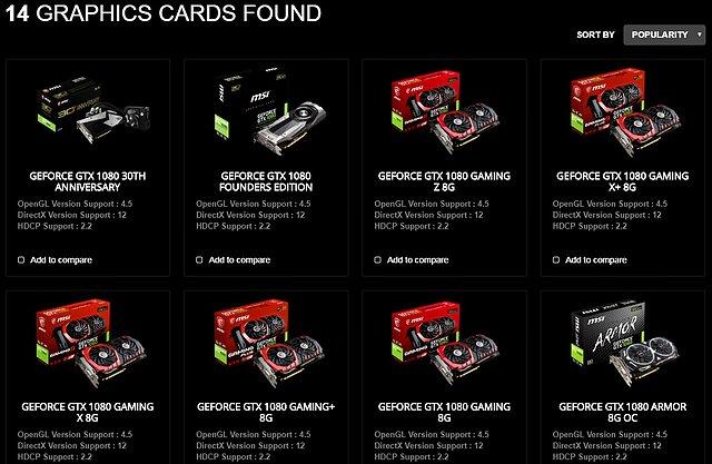 MSI Produkt-Portfolio an GeForce GTX 1080 Grafikkarten (US-Webseite)
