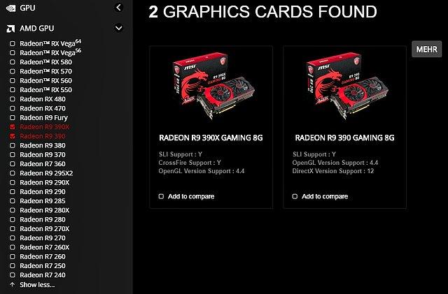 MSI Produkt-Portfolio an Radeon R9 390/390X Grafikkarten (DE-Webseite)