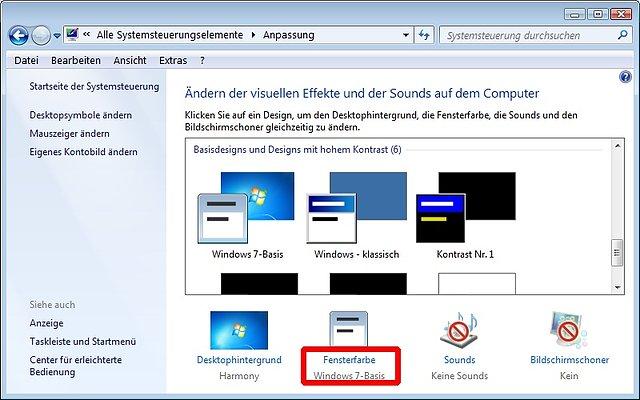Windows 7 - Systemsteuerung - Anpassung