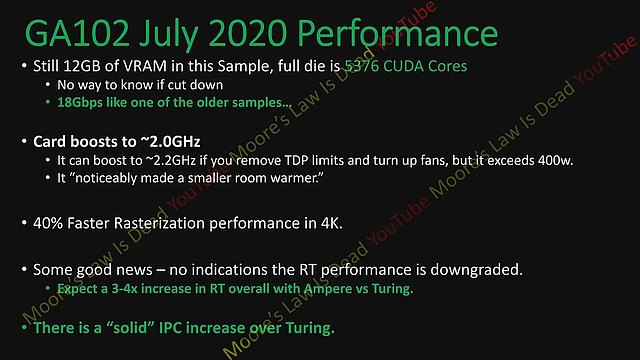 nVidia Ampere GA102 Performance (by MLID)