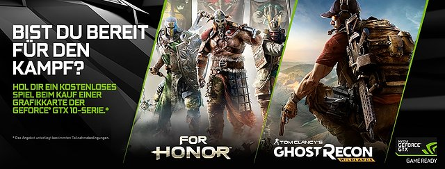 """nVidia """"For Honor"""" & """"Ghost Recon: Wildlands"""" Spielebundle"""